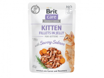 Brit Care Cat Kitten. Fillets in Jelly with Savory Salmon 85g